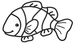 Clownfish clipart black and white