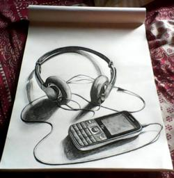 Drawn headphones