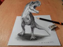 Drawn tyrannosaurus rex trick art