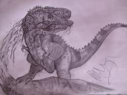 Drawn tyrannosaurus rex spinosaurus