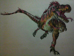 Drawn tyrannosaurus rex alien movie