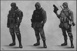 Drawn soldiers futuristic