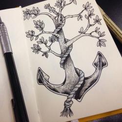 Drawn tattoo sketch