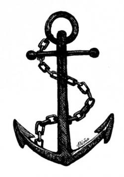 Drawn anchor underwater