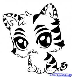 Drawn tigres cute