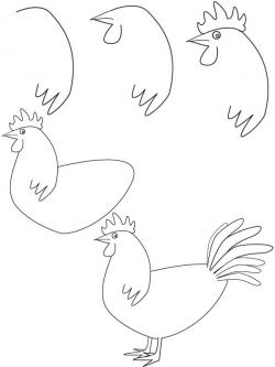 Drawn rooster simple