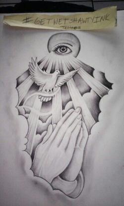 Drawn tattoo hand drawing