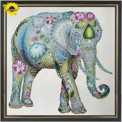 Drawn asian elephant mosaic