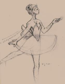 Drawn ballet ballerina music box