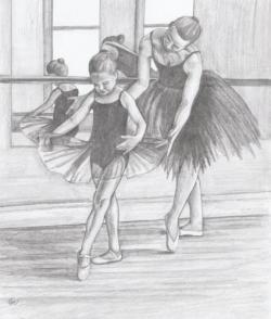 Drawn ballet dance studio