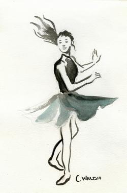 Drawn ballet modern dancer