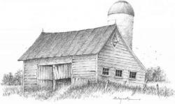 Drawn landscape barn
