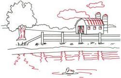 Drawn pond barn