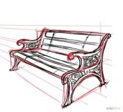 Drawn park park bench
