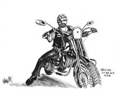 Drawn biker