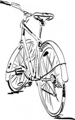 Drawn pushbike technical drawing