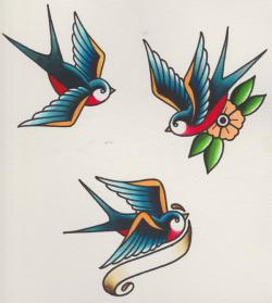 Drawn swallow tatoo