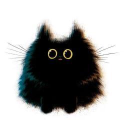 Drawn black cat