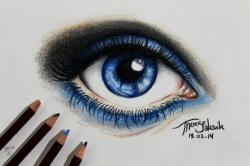Drawn eyeball real life