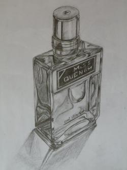 Drawn still life perfume bottle