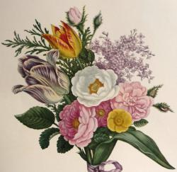 Drawn vintage flower bouquet