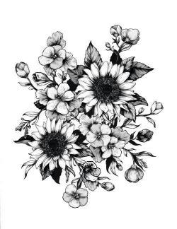 Drawn tattoo flower
