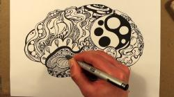 Drawn brains black marker