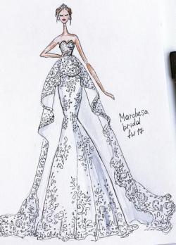 Drawn wedding dress evening dress