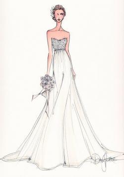 Drawn wedding dress formal dress