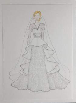 Drawn bride wedding anniversary