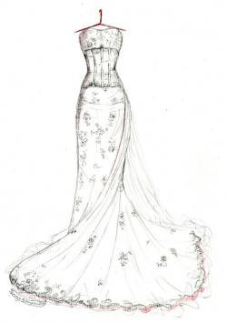 Drawn wedding bridal dress