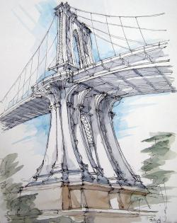 Drawn bridge manhattan bridge