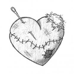 Drawn hearts wounded heart
