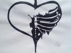 Drawn broken heart