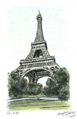 Drawn eiffel tower new york