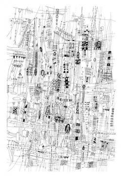 Drawn scenic city traffic