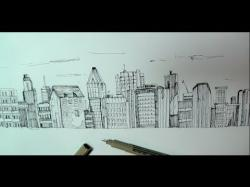 Drawn scenic cityscape