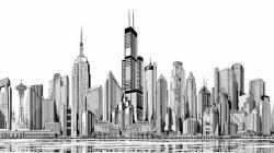 Drawn skyline chicago