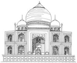 Drawn building taj mahal