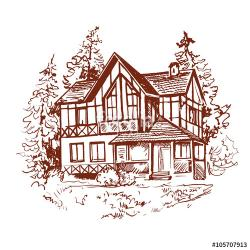 Drawn hosue vintage house