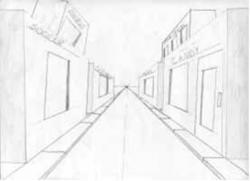 Drawn roadway one point