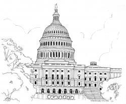 Drawn building washington dc capitol
