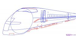 Drawn railroad bullet train