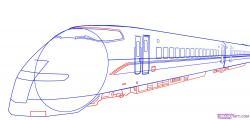 Drawn railroad bullet train