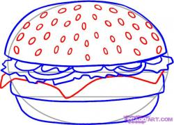 Drawn hamburger hamburger bun
