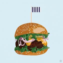 Drawn burger colour