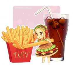 Drawn hamburger anime