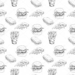 Drawn burger pizza