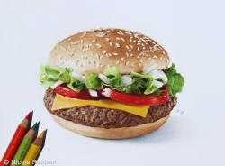 Drawn hamburger realistic