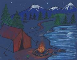 Drawn campire tent